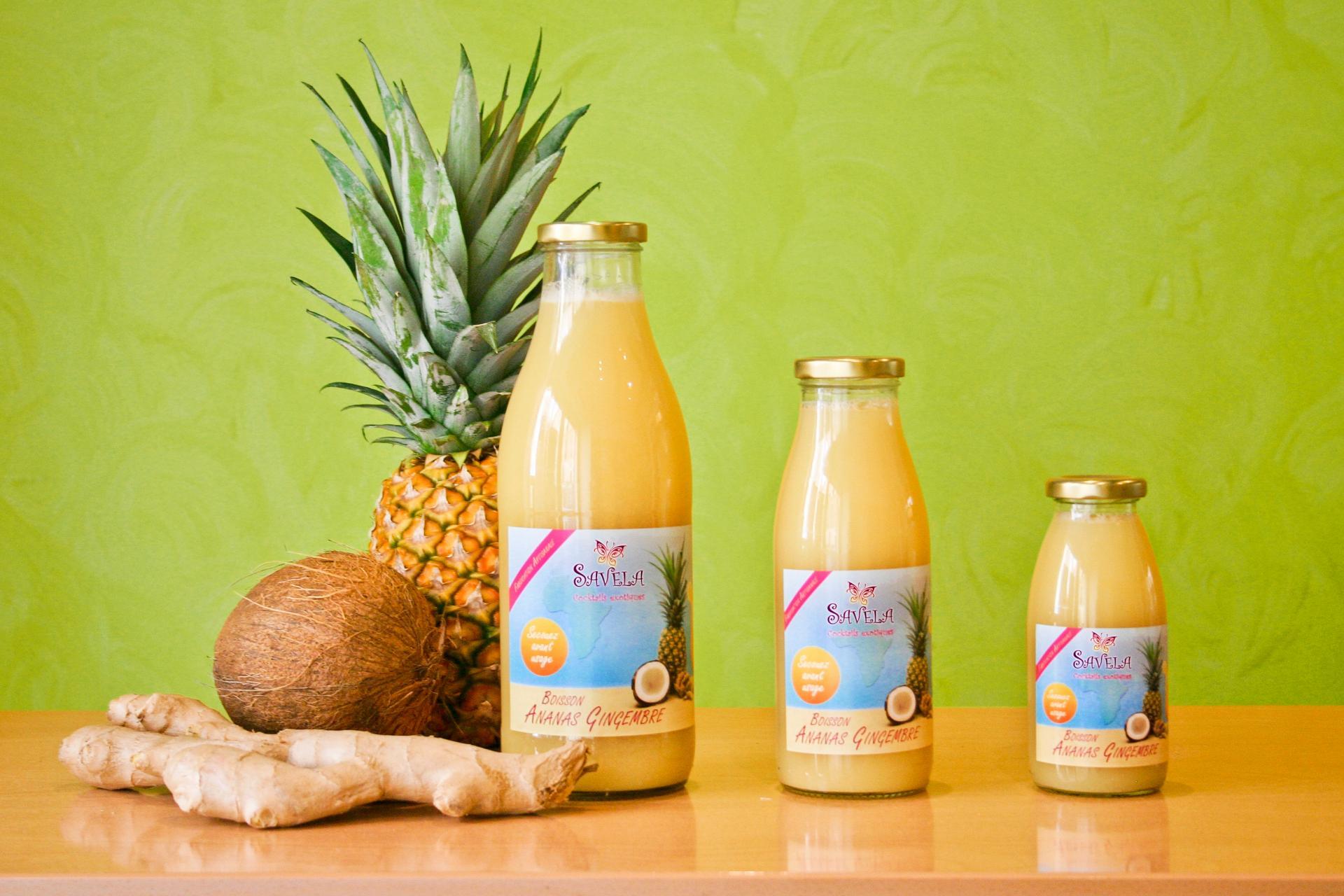 Boisson ananas-gingembre et ses ingrédients - Savela Marseille