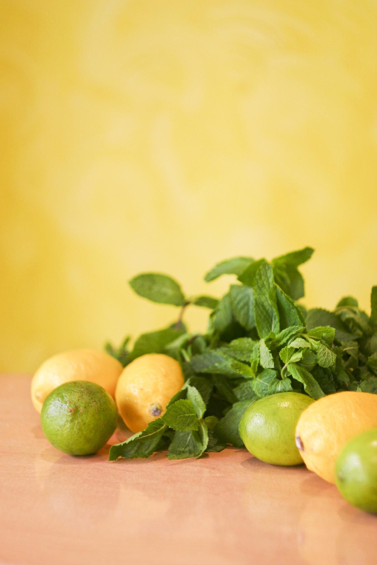 Ingrédients  citron jaune, citron vert et menthe - Savela Marseille